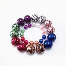 new Elegant Leopard Zebra Stripe Printing Double Side Pearl Ear Stud Earrings Nightclub Singer Jewelry Trade Show Girl gifts