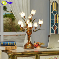 FUMAT Glass Table Lamp Vintage Metal Table Lamp Creative Fashion Brief Bedside Flower Shade Lamp Art Decor LED Table Lights