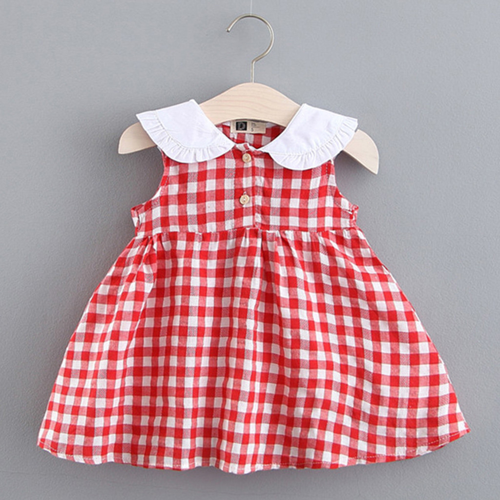 Summer Dress Girls Princess Toddler Baby Kids Girls Sleeveless Plaid Rabbit Bunny Ear Princess Dresses