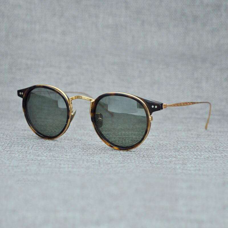 Korea B Titanium Polarized Sunglasses Men Brand Vintage Acetate Sun Glasses Women Nylon Lens Round Sunglass UV400 Oculos De Sol