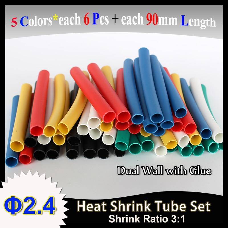 PARTS EXPRESS 24mm Heat Shrink 3:1 Red 6 x 2 Pcs.