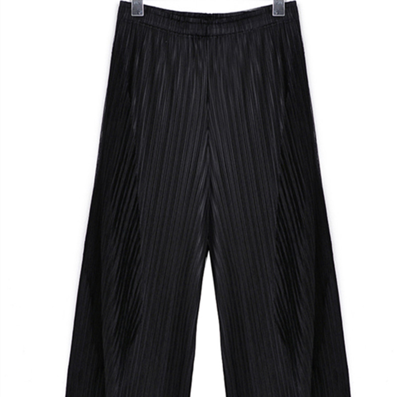 Special Pleats Summer New 2019 Women Casual Loose   Wide     Leg     Pants   Pleated Elastic Waist Calf-length   Pants   Women Black Grey