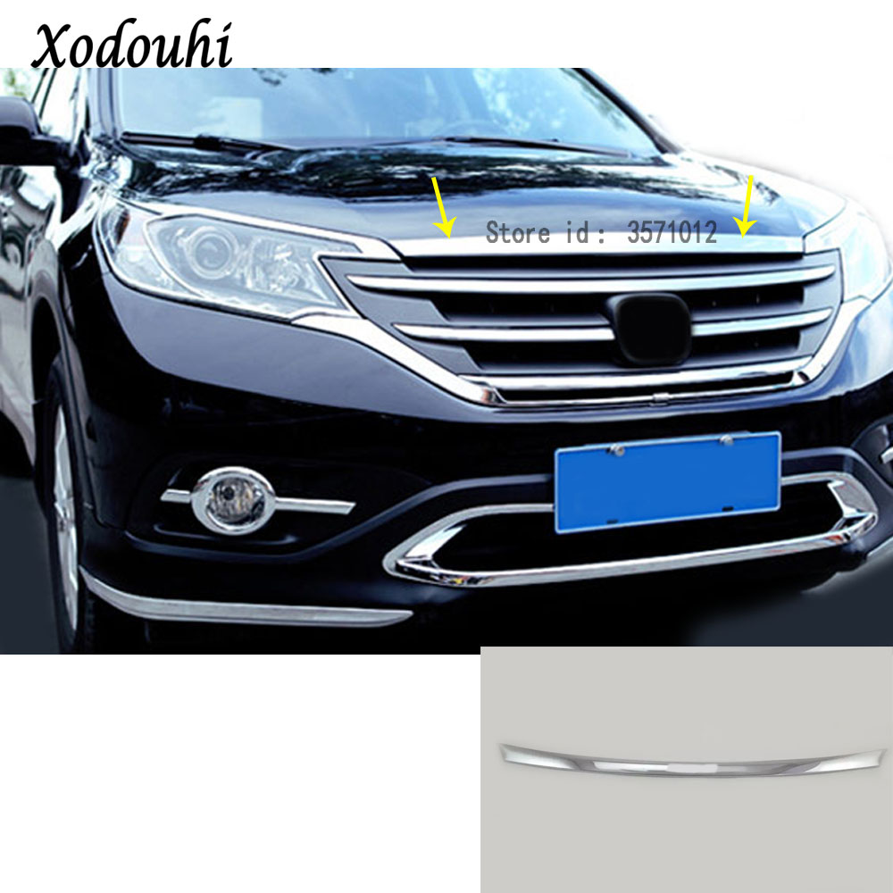 For Honda CRV CR-V 2012 2013 2014 2015 2016 car ABS front engine Machine grille grill upper hood stick lid trim lamp hoods 1pcs for nissan x trail xtrail t32 rogue 2014 2015 2016 abs chrome front engine machine grille upper hood stick lid trim lamp 1