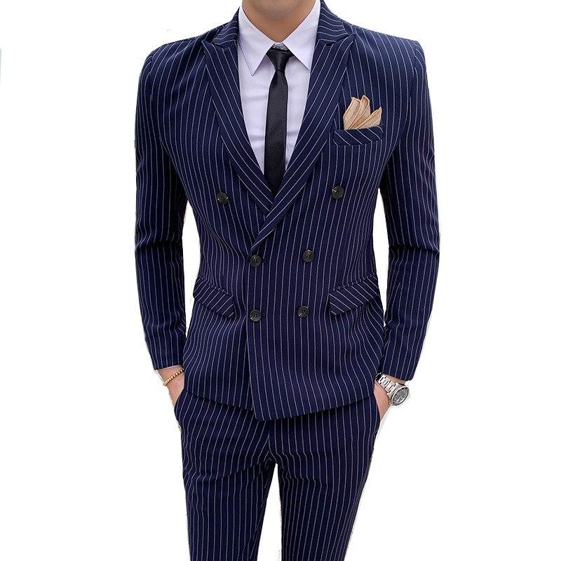 Homme anglais rayé Slim double boutonnage costume 2 pièces (veste + pantalon) mode Banquet haut de gamme personnalisé costume pour hommes