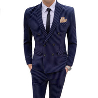 Men's English Striped Slim Double Breasted Suit 2 Piece (Jacket + Pants) Fashion Banquet High end Custom Men's Suit