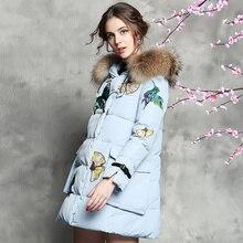 2015 женщины зима мода пуховик птицы вышивка белая утка пуховик дизайнер парки на рождество носите D5079