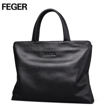 FEGER big capacity man leather handbag best style famous brand business hand bag laptop briefcase for