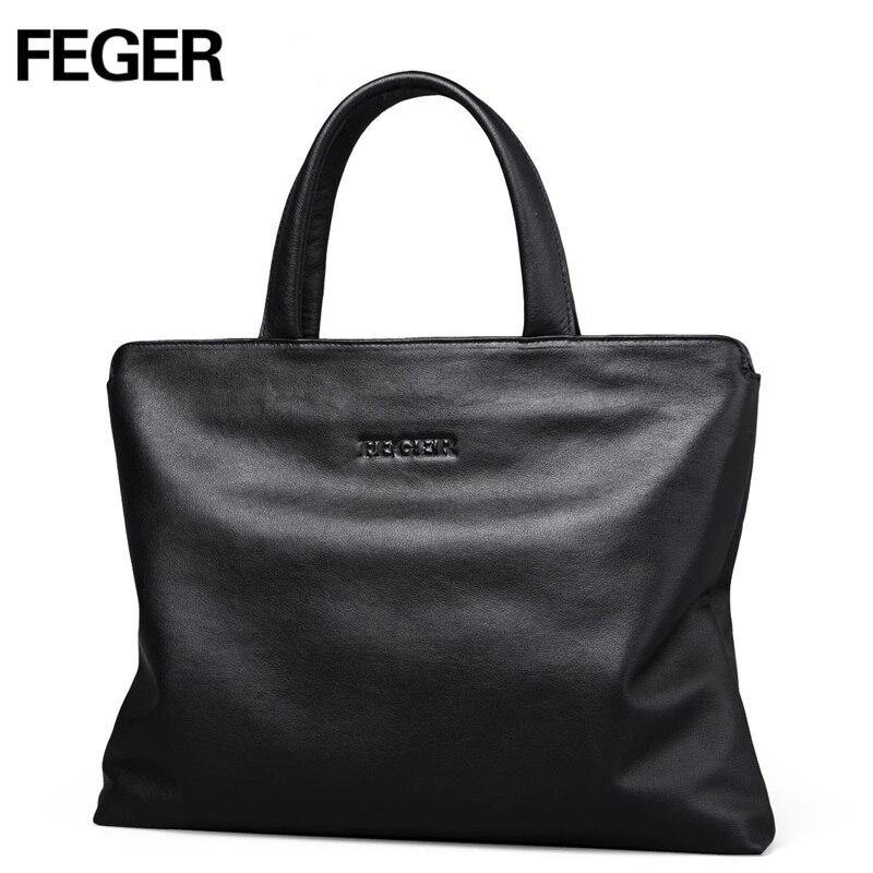 FEGER big capacity man leather handbag best style famous brand business hand font b bag b