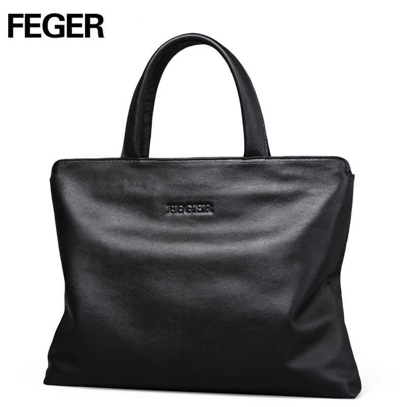 FEGER big capacity man leather handbag best style famous brand business hand bag laptop briefcase for man free shipping
