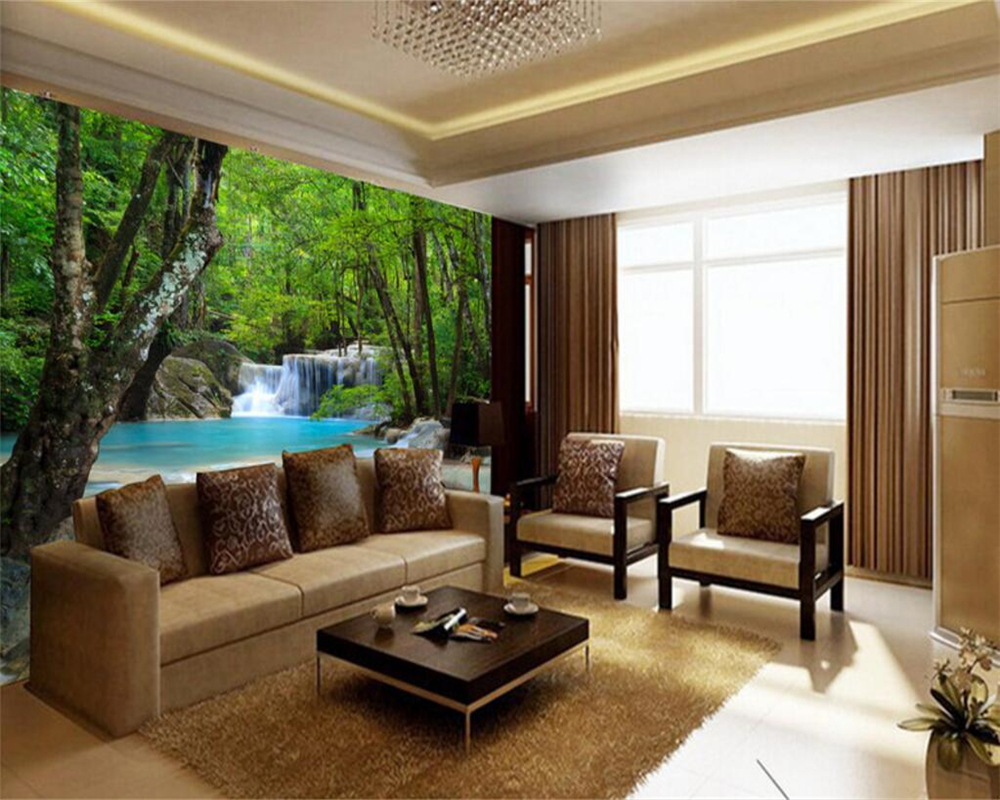 US $8.1 46% OFF Beibehang 3D definition forest rivers waterfalls photos 3D  wallpapers living room bedroom decoration photo 3d wallpaper mural-in ...