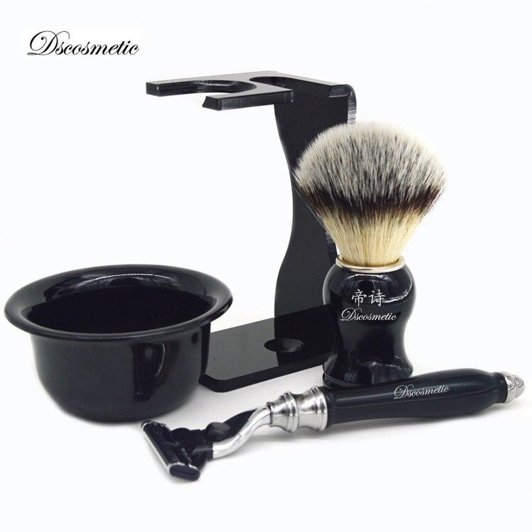 Klassische rasur geschenk set mit synthetische haar pinsel dreibettzimmer klingen-rasierer pinsel stand razor halter und rasieren schüssel für