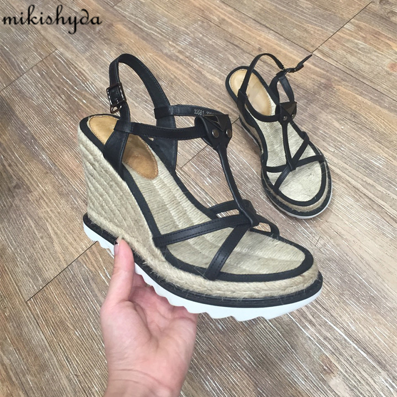 34-40 Women'S Summer Espadrille Wedges Sandal Roman Cork Shoes New 2017 Strappy High Platform Cross-Tied Zapatos Mujer Plataform criss cross espadrille wedges