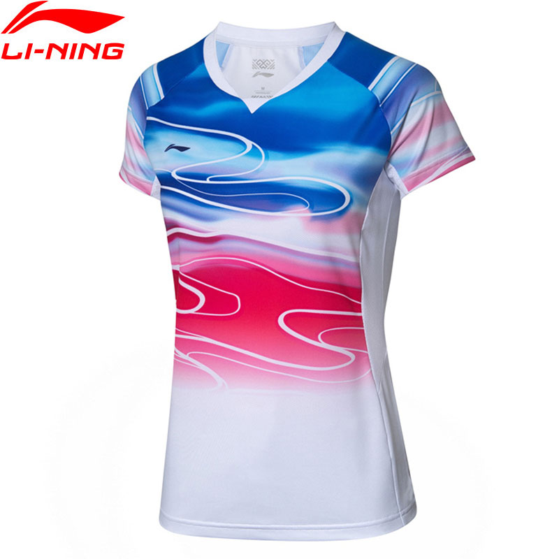 Li-Ning Women Badminton T-Shirt Competition Top Polyester Spandex AT DRY Breathable LiNing Sports Tees AAYP054 WTS1504