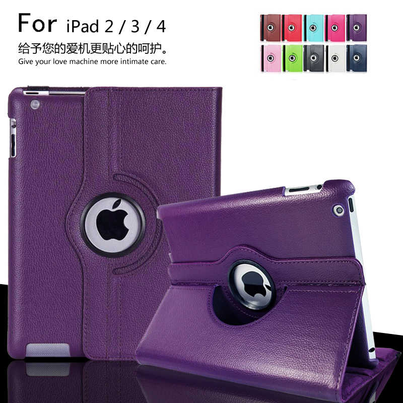 Case For ipad 2 ipad 3 ipad 4 Tablet Case 360 Degree Rotating Stand Flip Folio Screen Protector Cover For iPad2 / iPad3 / iPad4