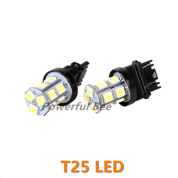 2 x T25/3156 3157 13SMD cold white LED automobile car DRL running reverse brake tail signal lights bulb for Focus Mondeo image