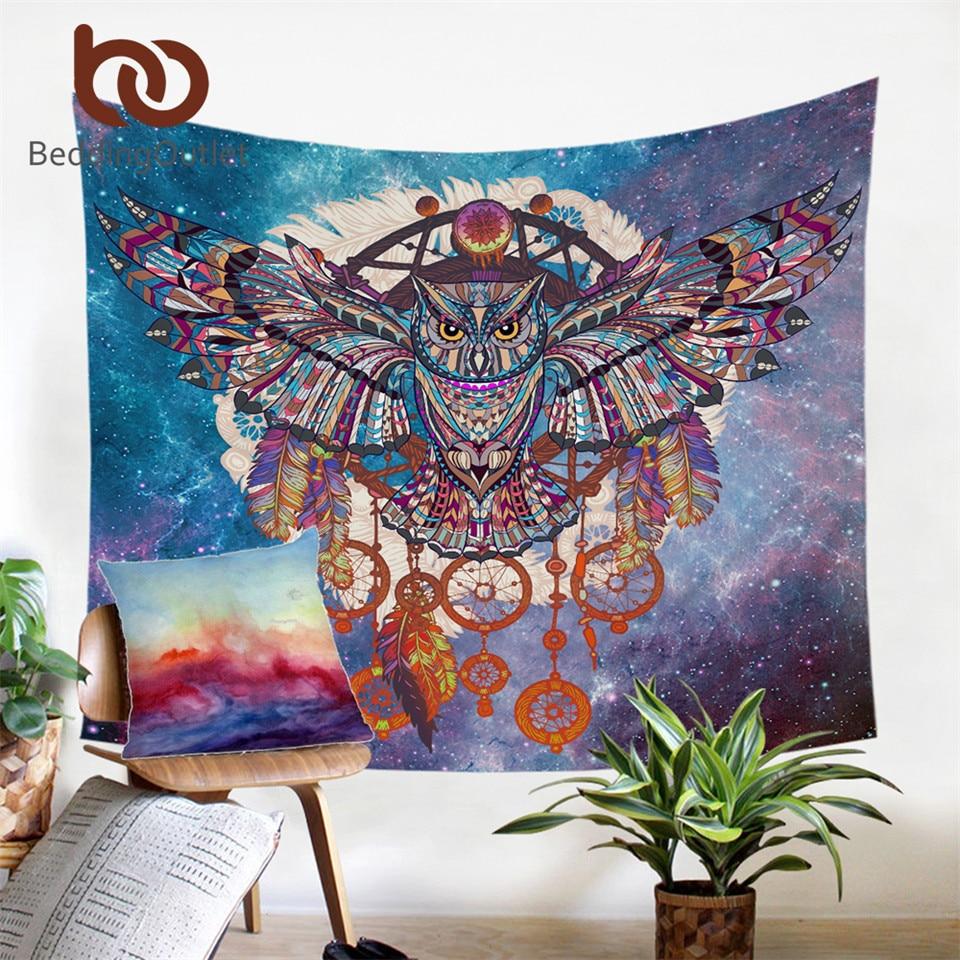 BeddingOutlet Owl Dream Catcher mit Federn Tapisserie Bohemia Wandteppich Mikrofaser Soft Life Wandtuch 130x150 150x200cm