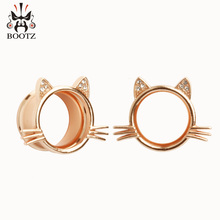 Фотография 2017 KUBOOZ new earrings body jewelry piercing ear gauges expander rose gold stainless steel plugs and tunnels 2pcs/lot