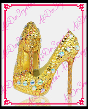 Aidocrystal Wedding Shoes Bridal Pumps Women Girl Glitter Crystal Evening Party Court Shoes Yellow bottom High