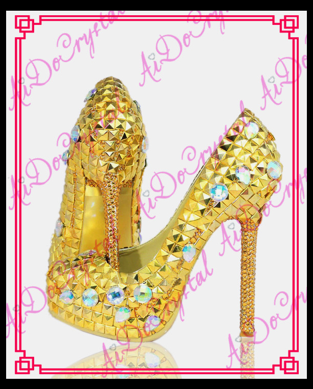 Aidocrystal Wedding font b Shoes b font Bridal Pumps Women Girl Glitter Crystal Evening font b