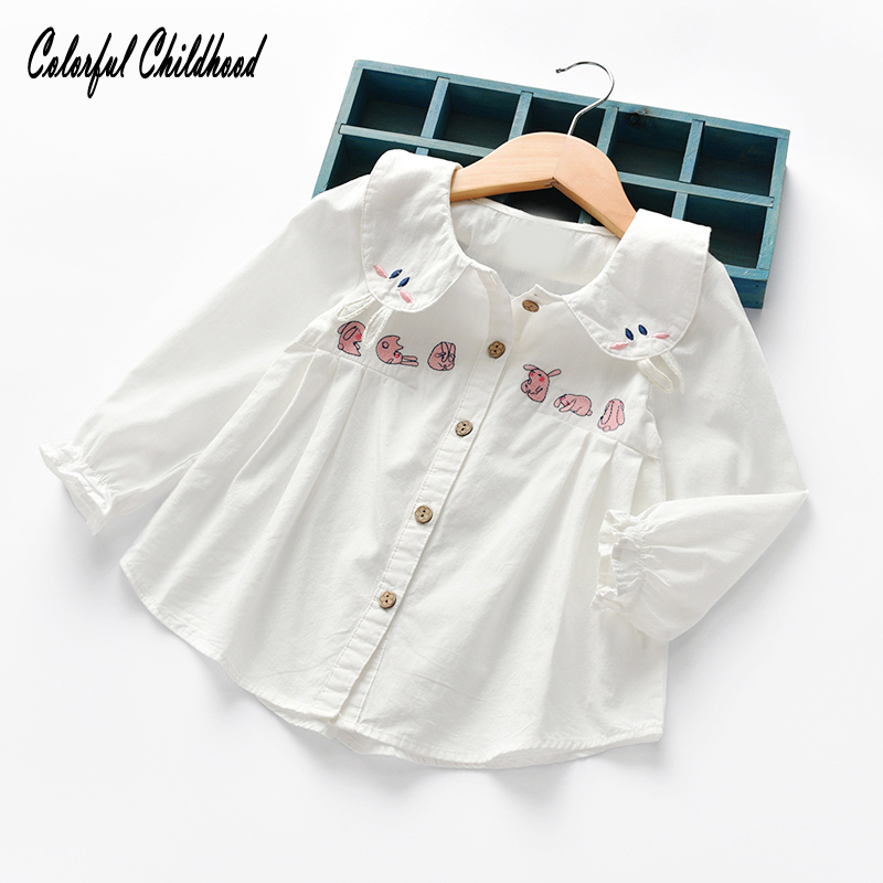 Cute Bunny Embroidery School Girls White Blouse Cotton Breathable