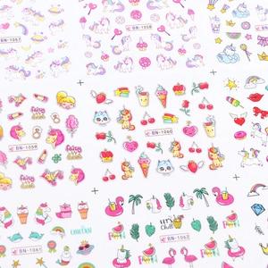 Image 5 - Adesivos de flamingo para unhas 12pçs, adesivos bonitos de desenho animado para decoração de unha de manicure, ferramentas decalque de água, decoração para unhas JIBN1057 1068