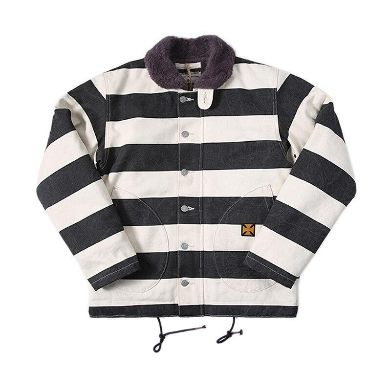 ボブ洞ヴィンテージ刑務所ストライプオートバイ N 1 ジャケットメンズバイカーウール裏地コート  グループ上の メンズ服 からの ジャケット の中 1