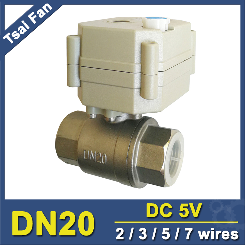 2 Way Stainless Steel 3/4 Full Port Motorized Ball Valve With Manual Override 5V DC 2/3/5/7 Control Wires