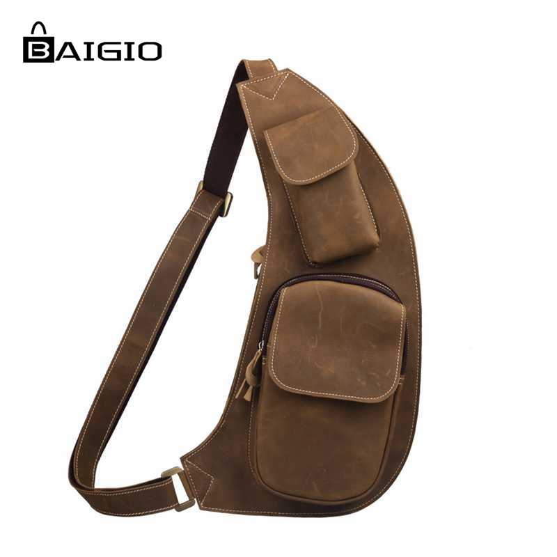 ФОТО Baigio Men Bag Vintage Genuine Leather Bag Men Travel Bag Riding Crossbody Chest Designer Daypack Large Size Shoulder Sling Bags