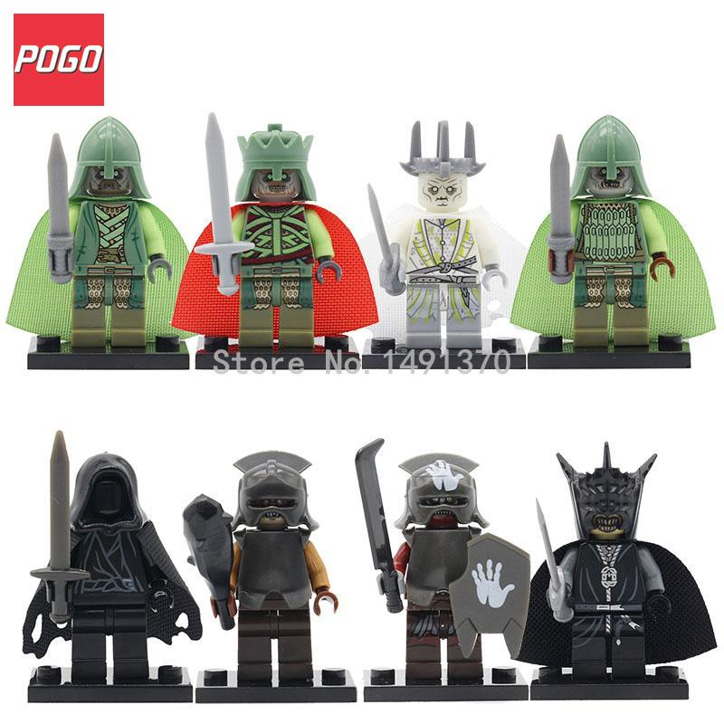 POGO Medieval Castle Knight Figure Blue Lion with Weapons Single Sale Building Blocks Figure Bricks Toys For Children a suit of retro colored round bracelets for women