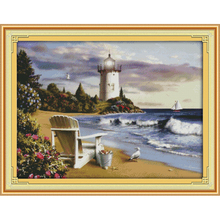Everlasting love The lighthouse  Chinese cross stitch kits Ecological cotton stamped printed 11CT DIY Christmas decorations gift