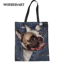 WHEREISART Cute Pug Print Demin Eco Reusable Shopping Bag Cloth Fabric Grocery Pack Recyclable Bag Healthy Tote Handbag Trip(China)