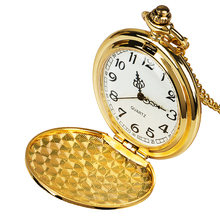 Golden Double Hunter Mechanical Hand-winding Fob Pocket Watches with Chain Train Locomotive Roman Numeral Clock