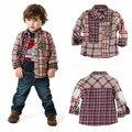Wholesale 1lot= 7pcs   Baby Boys Fashion Plaid Shirts Kids Long Sleeve Blouse Children Autumn Clothing