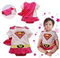 Superwoman rosa 0-24 Meses Bebé de Manga Corta mono Mameluco de Una Sola Pieza