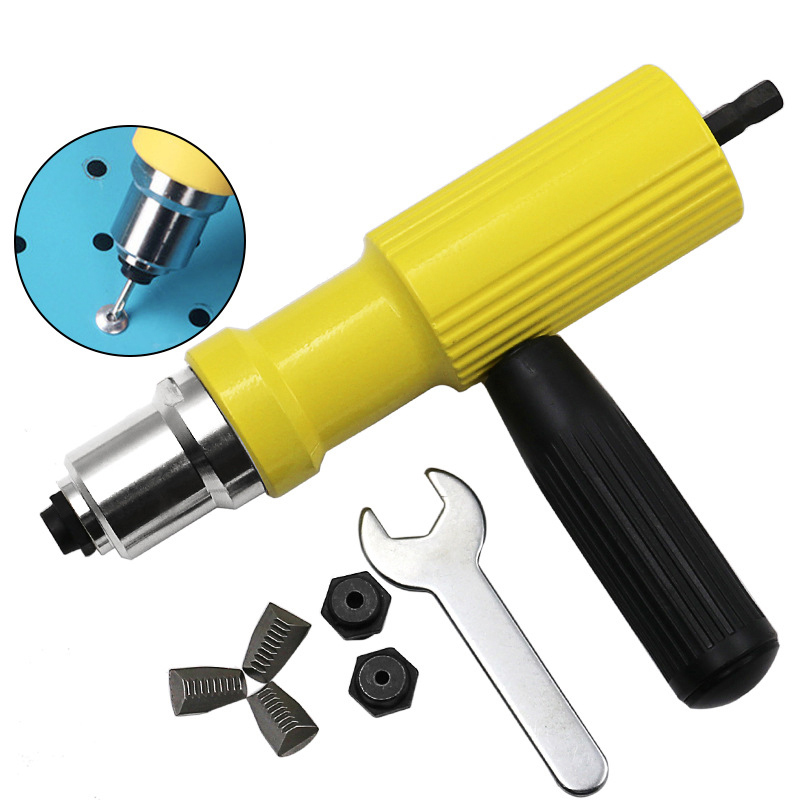 New Yellow Cordless Electric Blind Rivet Nut Tool Durable Riveting Drill Adaptor Alloy Riveting Tool For Electric Drill drill buddy cordless dust collector with laser level and bubble vial diy tool new