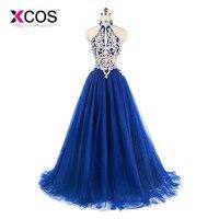 XCOS индивидуальный заказ Royal Blue Lace Halter платья Элегантный Линия Дешевые длинное платье для Вечеринка платья vestido de gala