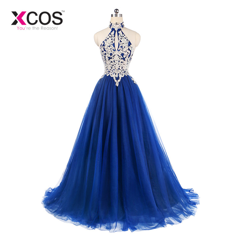 XCOS Custom Made Royal Blue Lace Halter   Prom     Dresses   Elegant A Line Cheap Long   Dress   for Evening Party Gowns vestido de gala