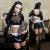 Role Play Nun Costume Sexy Women Black Nurse Witch Suit Monk Costume Masquerade Fancy Dress Halloween Costumes for Women