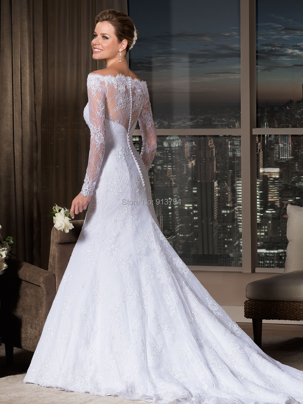 Long Sleeve Lace Off Shoulder Wedding Dress - Wedding Dress Ideas