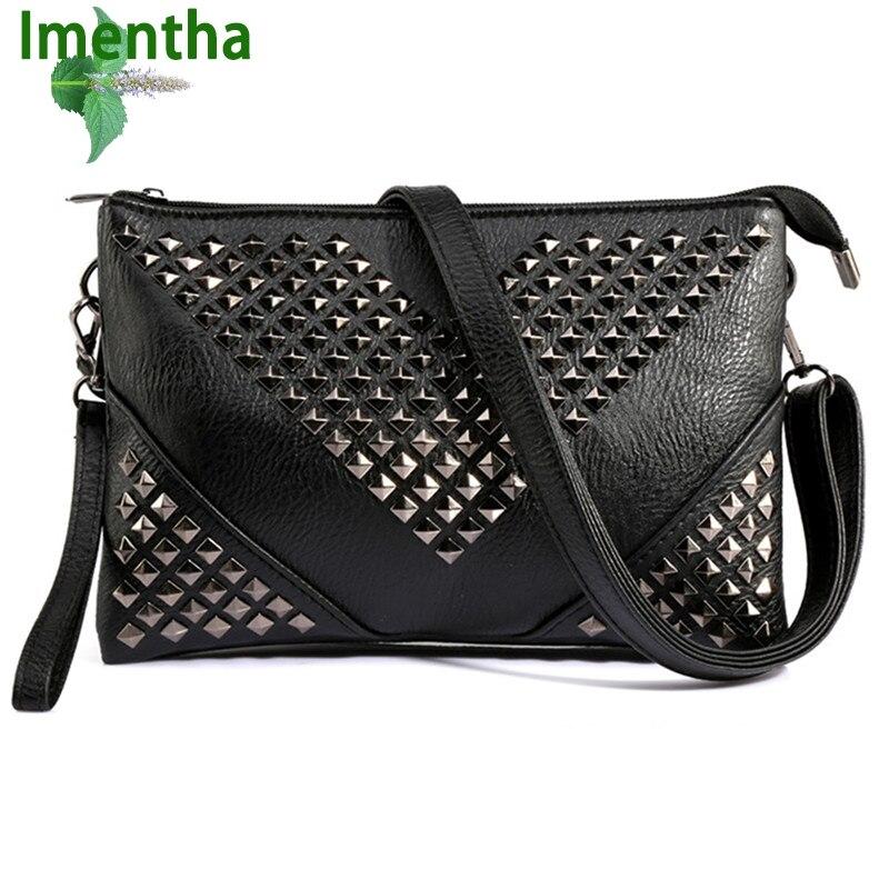 6463eec86353 2017 черные кошельки и сумки заклепки женские кожаные сумки на ремне  заклепками женские сумки Crossbody сумки для женщин