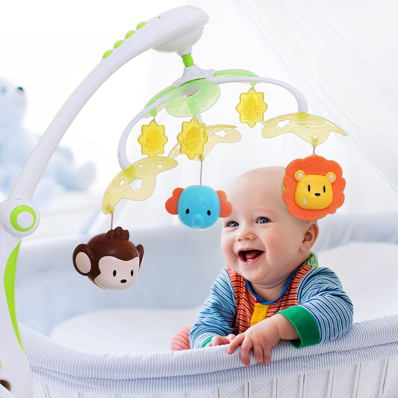 Pierres vivantes bébé jouets 0-12 mois berceau Mobile Musical lit cloche avec Animal hochets Projection dessin animé apprentissage précoce enfants jouet
