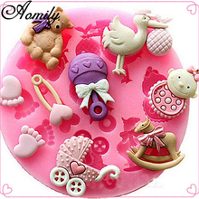 Aomily Baby Horse Bear Toy Mould Silicone Soft Sugar Chocolate Bean Mold Candy Pudding Lovely Gift for Child Ice Cube Tray Mold