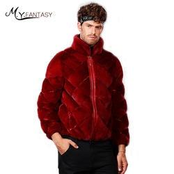 М. Y. FANSTY шуба 2019 зима Лебедь бархат норки воротник стойка человек пальто натуральный мех сбоку внутри носить куртка на молнии Короткая