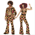 Free Shipping Men women 60s 70s Retro Hippie Costume 1960s 1970s Go Go Girl Disco Costumes Men's Disco Costume M XL