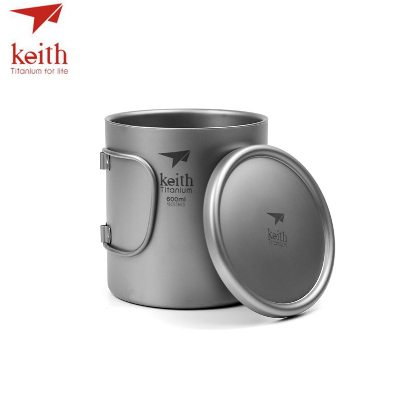 Keith Pure Titanium Double Wall Water Mugs Titanium Lid With Folding Handles Drinkware Outdoor Camping Cup