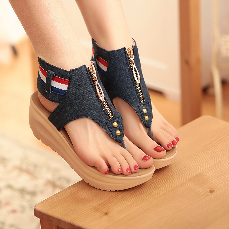 Platform Sandals Creepers Flip-Flops Beach-Shoes Denim Wedges Fashion Woman Zip