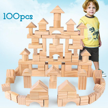 DOLLRYGA 100pcs Wooden Building Blocks Wooden Constructor Toys For Children Palace Montessori Learning Educational Game For Kids candywood high quality beech wooden colourful blocks kids educational learning right angle building blocks for children toys new