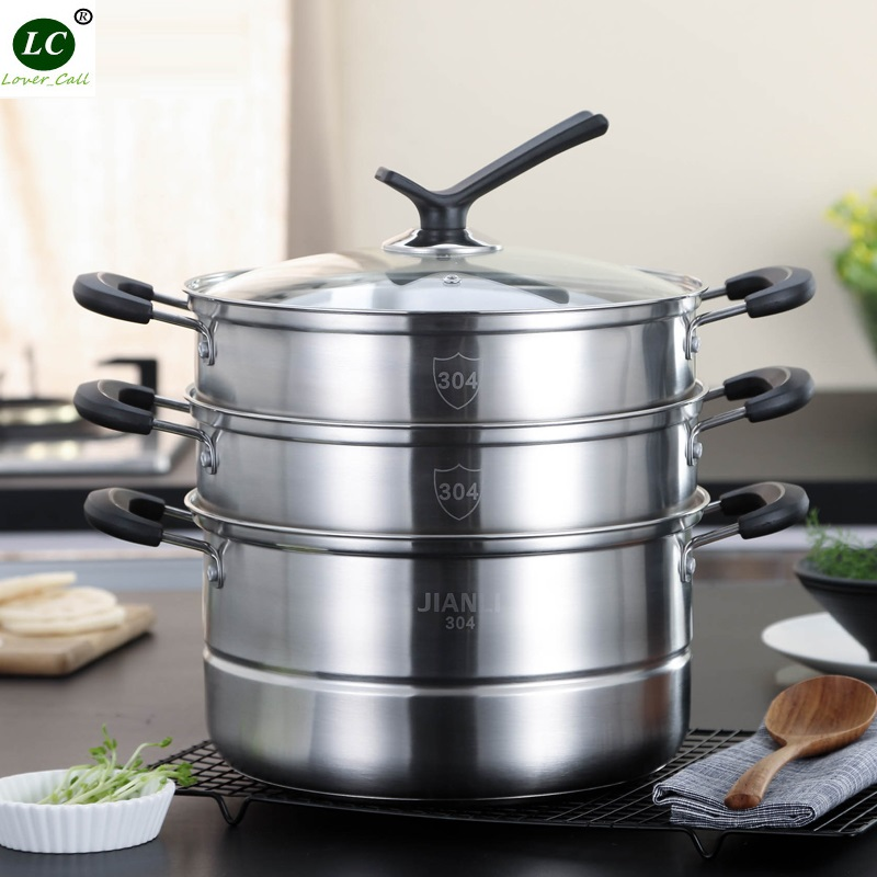 304# Stainless Steel 3-layer Steamer Casserole Thickening Complex Large Food Steaming Stock Pot Soup Pot 28CM 11 Litre