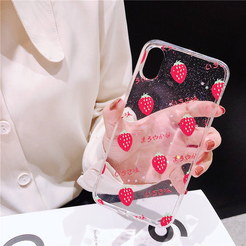 Glitter fruit soft Cherry Phone case For Samsung Galaxy S9 S8 Plus Cover For Samsung Note 8 S9 note 9 S10 Plus Transparent cases in Fitted Cases from Cellphones Telecommunications