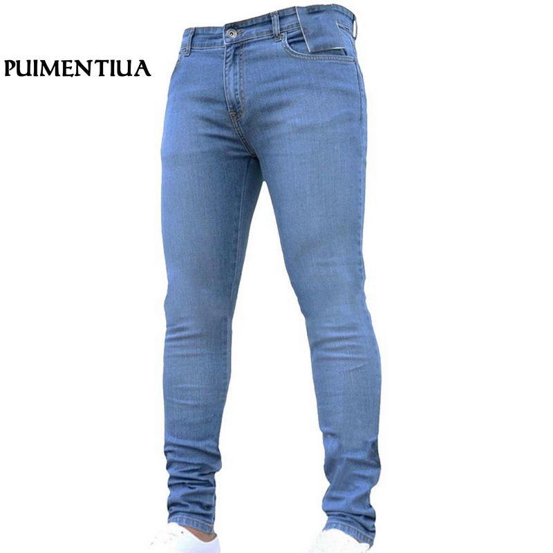 Puimentiua Mens Brand Jeans Casual Denim Black Trousers Pants Homme Stretch Pencil Pants Plus Size 3XL Male Jeans 2018
